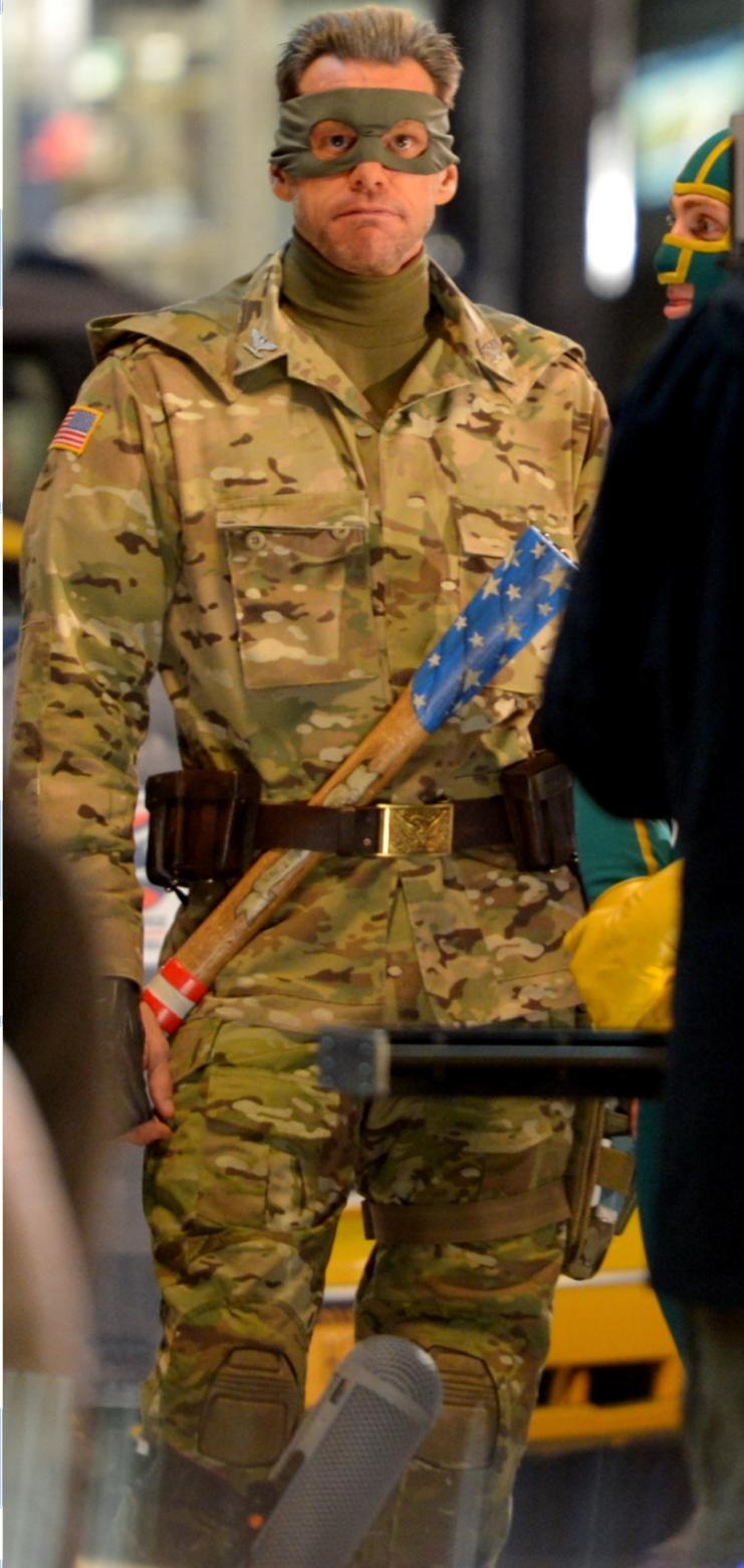 Jim Carrey como el Coronel Star en el rodaje de Kick-Ass
