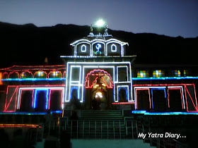 A glimpse of the Badrinath Temple on the Diwali night in Garhwal Himalayas in Uttarakhand