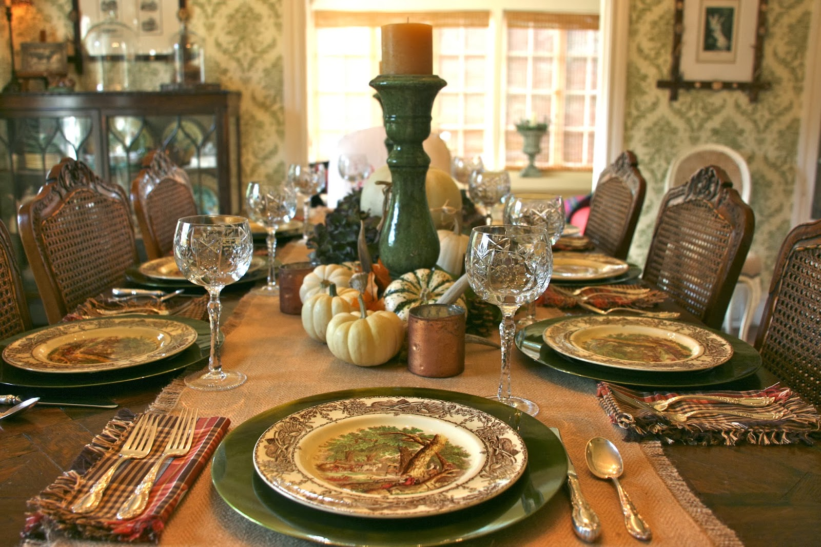 ... traditional Thanksgiving turkey plates. I opted instead to set the table with one of my favorite patterns Rural Scenes by A. J. Wilkinson. & vignette design: November 2013