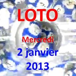 boules du LOTO - tirage du mercredi 2 janvier 2013