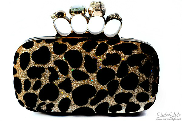 Gold Leopard Party Clutch Metal Clutch