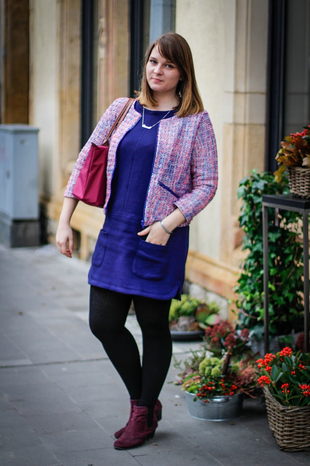 ootd colorful tweed blazer pink royal blue