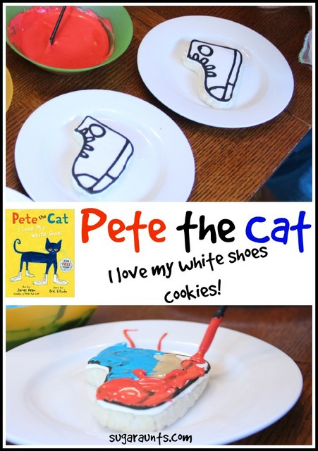 Pete the Cat I Love My White Shoes sugar cookies