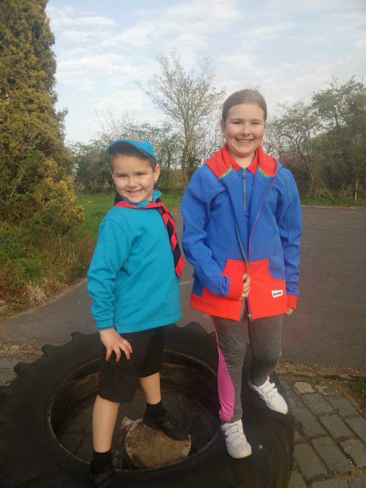 Big Boy in his Beavers uniform and Top Ender in her Guides Uniform