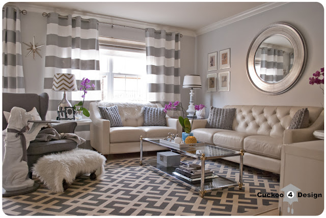 living room with a lot of grey patterns, Strandmon chair, Overstock rug