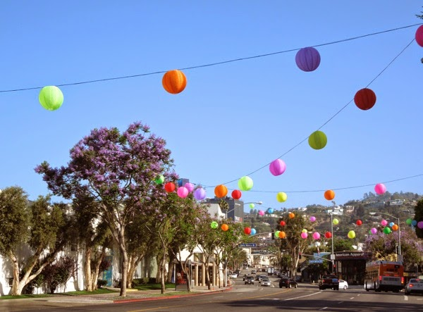 WEHO Pride paper lantern decorations San Vicente Boulevard