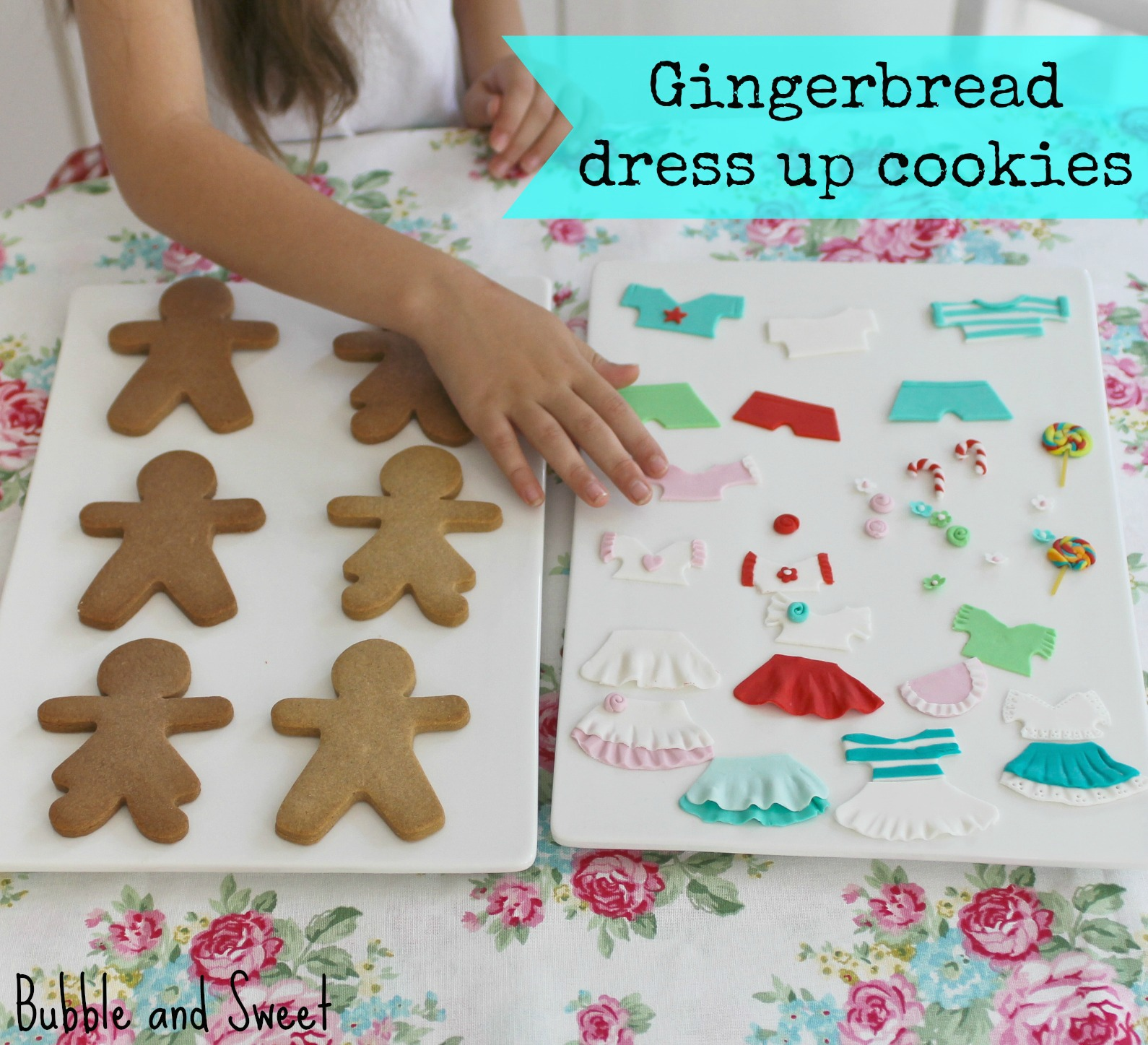 Bubble and sweet gingerbread people dress up cookie party