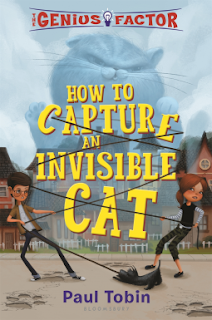 Book cover, 'How to Capture an Invisible Cat' by Paul Tobin. Image depicts a boy and girl on either side of an enormous cat. A leash is wrapped around all three figures and a small dog is tugging at one end of the leash. The cat is drawn and colored to be translucent, suggesting that it is invisible. A sidewalk and row of houses are depicted in the background, including within the vaporous lower body of the rearing cat.