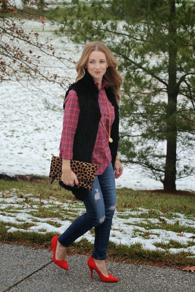 love token fur vest, jcrew plaid shirt, AG skinny jeans, Madewell red heels, Clare V leopard clutch