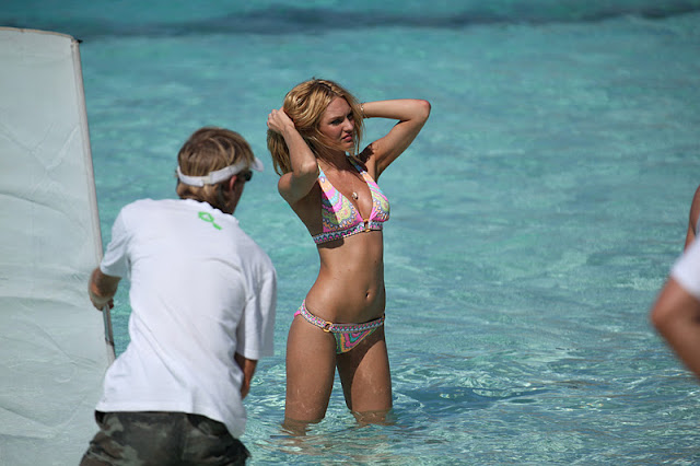 Candice Swanepoel – Victoria's Secret Bikini Photoshoot Candids in Bora Bora