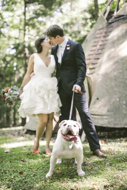 novios besándose y perro sacando la lengua