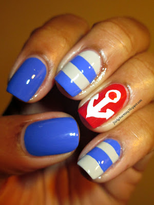 Tri Polish Challenge, May, Day 2, red, blu, grey, nautical, anchor, stripes. nails, nail art, nail design, mani
