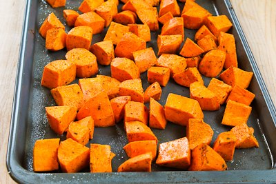 ... Easy Spicy Roasted Sweet Potatoes and Chicken-Garlic Sausage (Gluten