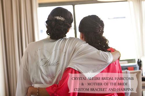 Custom Crystal Allure Starburst Bridal Haircomb, Custom Mother of the Bride Illusion Bead Bracelet and Hairpins