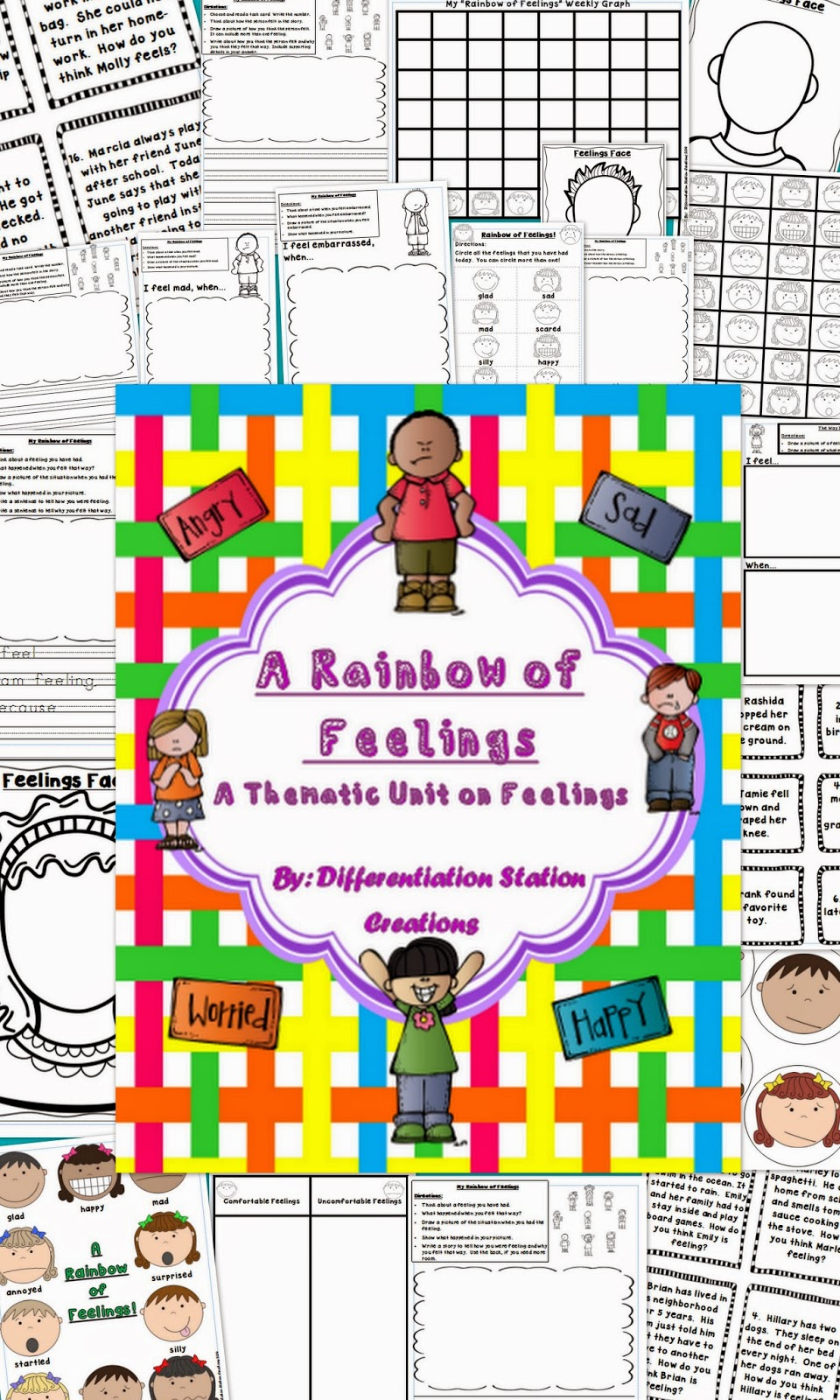 http://www.teacherspayteachers.com/Product/Thematic-Unit-on-Feelings-A-Rainbow-of-Feelings-1380283