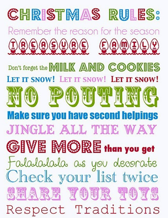 Christmas Rules: Treasure Family, Let it snow, milk and cookies, no pouting, falalala, jingle all the way, respect traditions