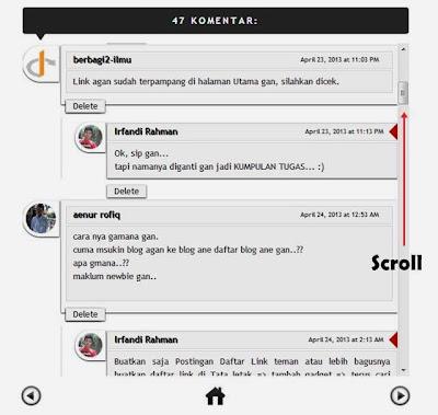 Cara membuat scroll pada kotak komentar blogger