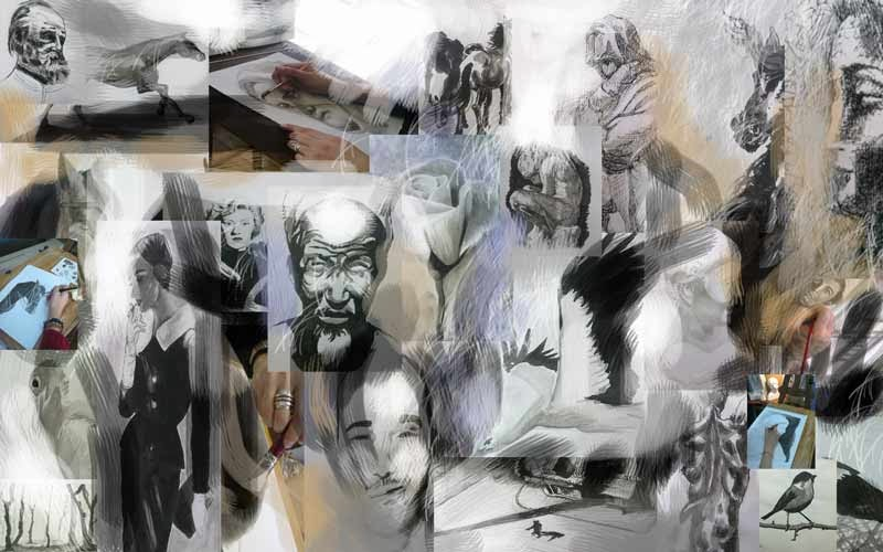 dibujos con tinta de los alumnos del estudio de arte orzan