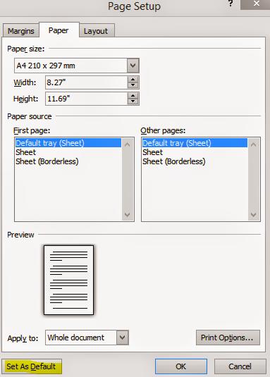 MS Word 2010 Page Setup Dialogue Box