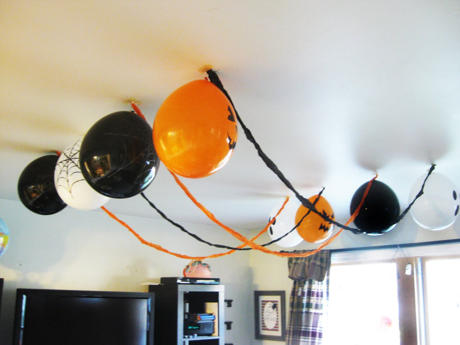 the ceiling decorations were also a cinch to make i just decorated plain balloons with spooky images using a sharpie i hung them upside down in rows and - Halloween Ceiling Decorations