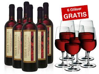 6 Flaschen Toskana Rotwein + 6 WMF Sommelier-Gläser Gratis