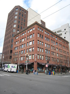 Building on the northwest corner of 1st and Pine, Seattle, WA