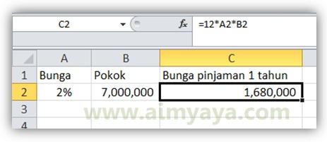 Gambar: Contoh menghitung pinjaman bunga flat selama 1 tahun menggunakan microsoft excel