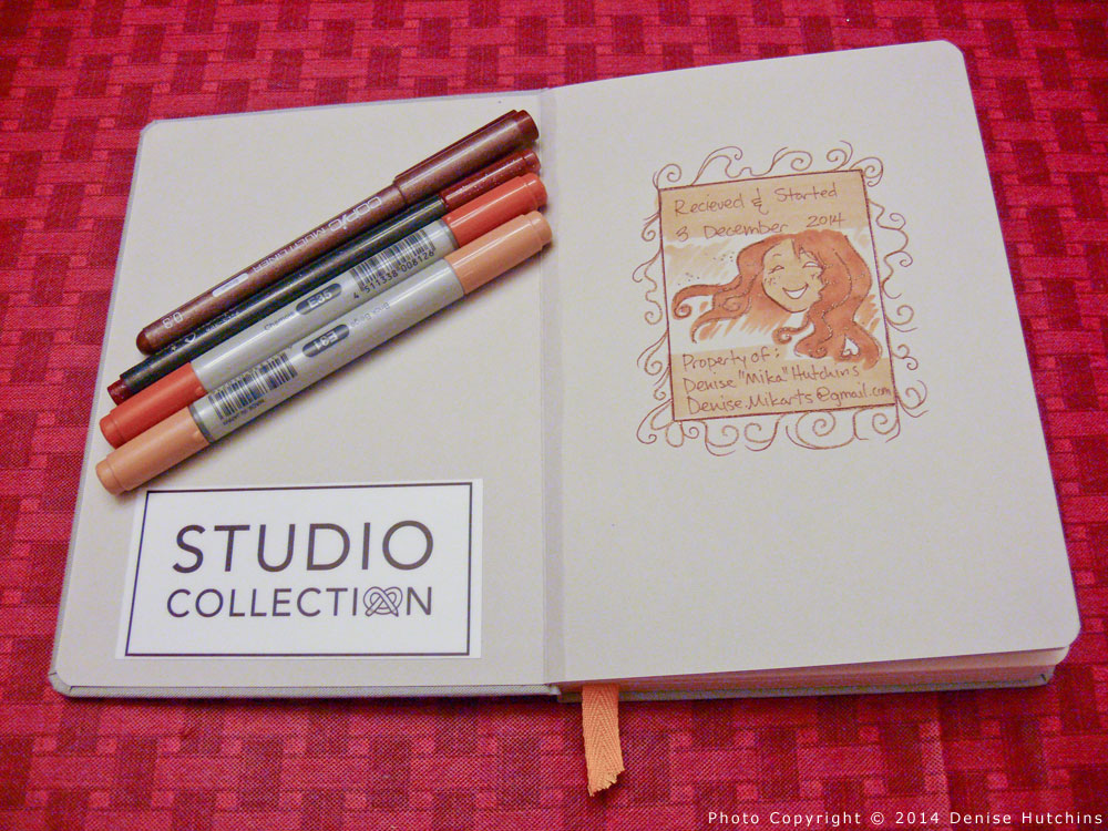 Confidant Sketchbook with Drawing Done with Copic Doodle Pack