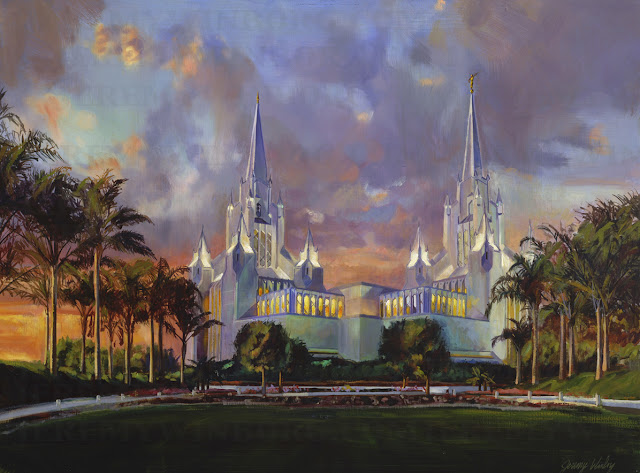 LDS temple in California original oil painting