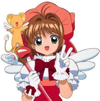 Dibujo de Sakura Kinomoto o Shakura Avalón saludando con su mascota