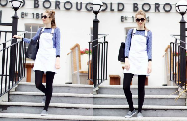 Boohoo white pinafore dress