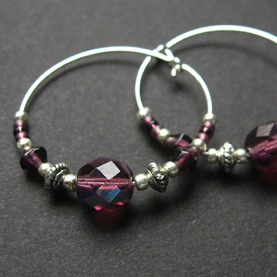 Amethyst Beaded Hoop Earrings in Silver