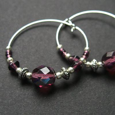 Amethyst Beaded Hoop Earrings in Silver