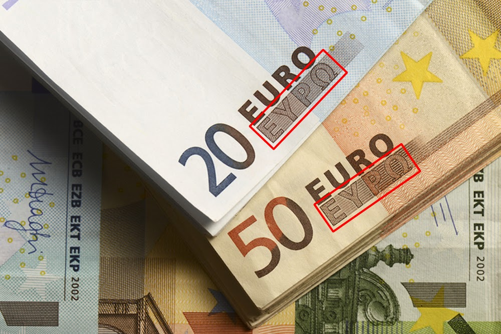 In the case of Grexit: All Euro bills with Greek letters worthless