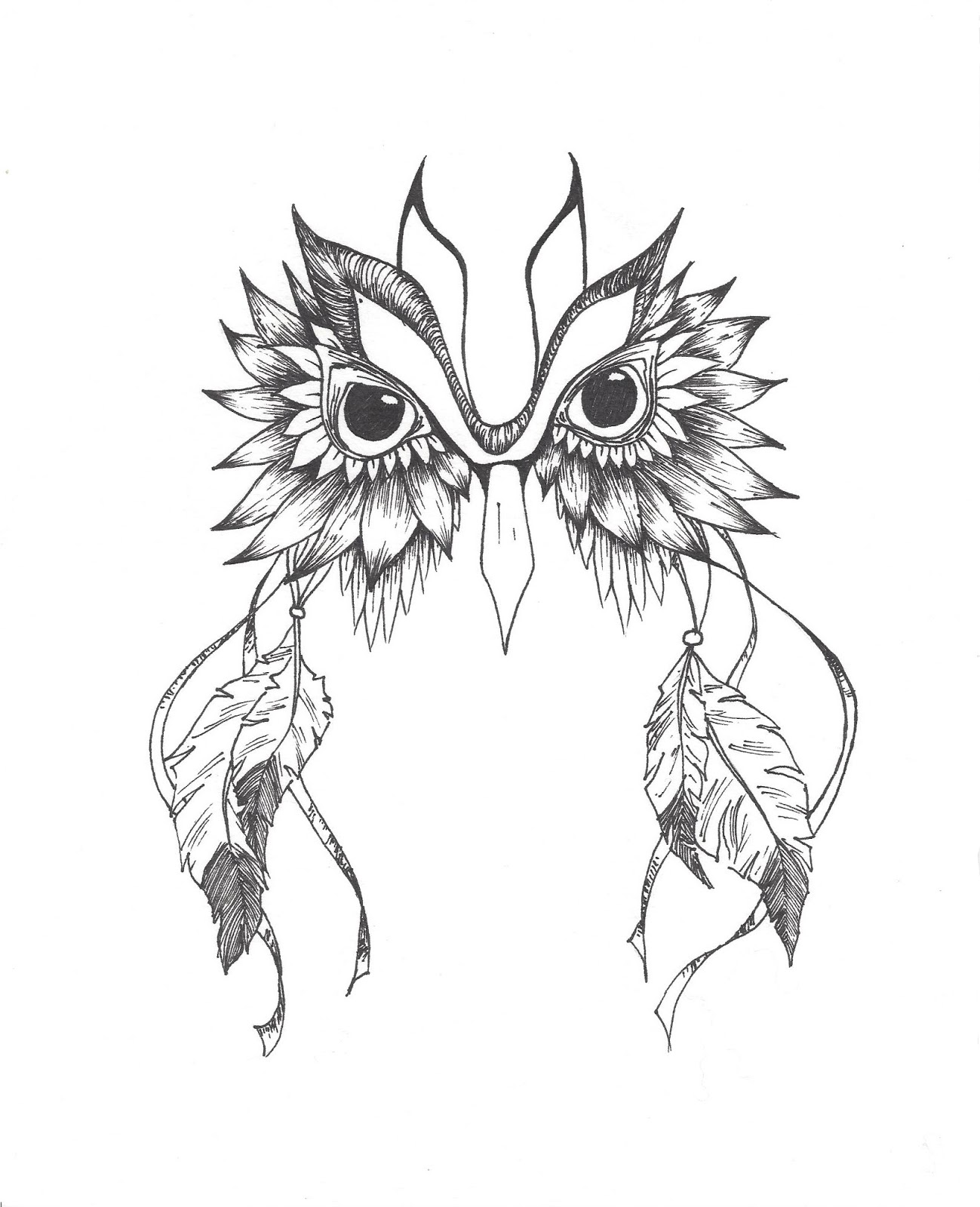 Owl dreamcatcher drawing - photo#4