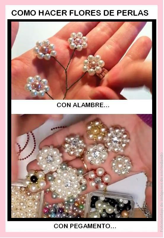 Como hacer Flores de Perlas 2 Tutoriales