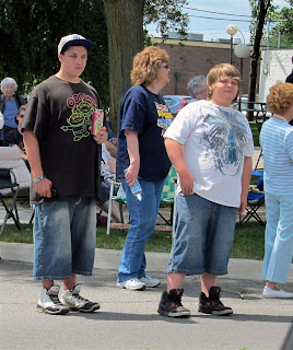 typical redford kids with long jean shorts, look dumb