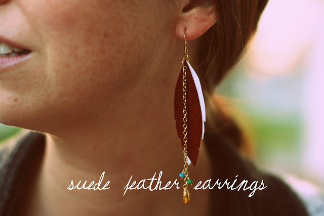 crafty jewelry: suede feather earrings tutorial