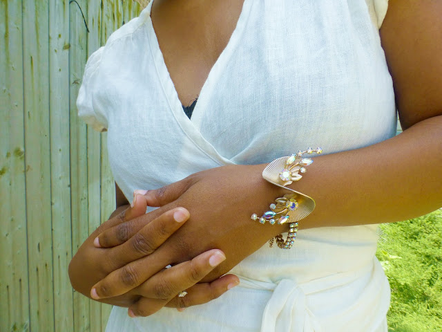 vintage rhinestone bracelet worn with wrap dress