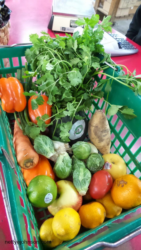 Produce stand basket