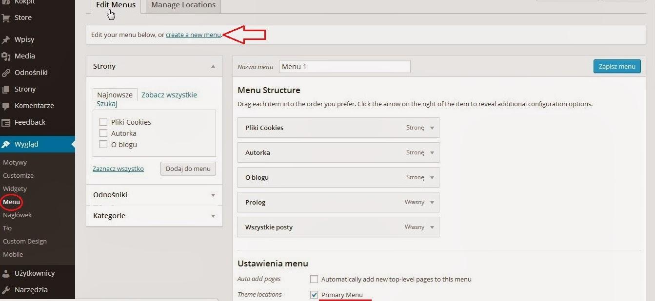 Wordpress - tworzenie menu