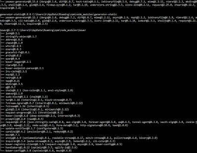 Screenshot of the last screen of output of a yeoman basic static site scaffold generator