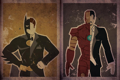"Superhero Secret Identity Prints by Danny Haas - ""Wayne"" (Batman) & ""Stark"" (Iron Man)"