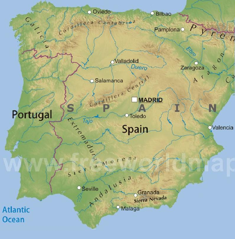 Mountains In Spain Map Ireland Map - Portugal map physical
