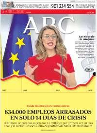 03/04/2020  UNA  PRIMERA PÁGINA DE LA PRENSA ESPAÑOLA
