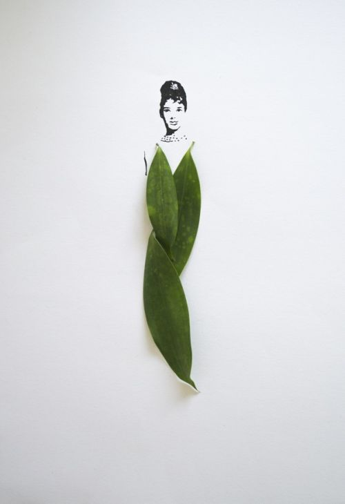 Tang Chiew Ling illustrations design fashion lyrical leaf leaves nature Fashion in Leaf - Audrey Hepburn
