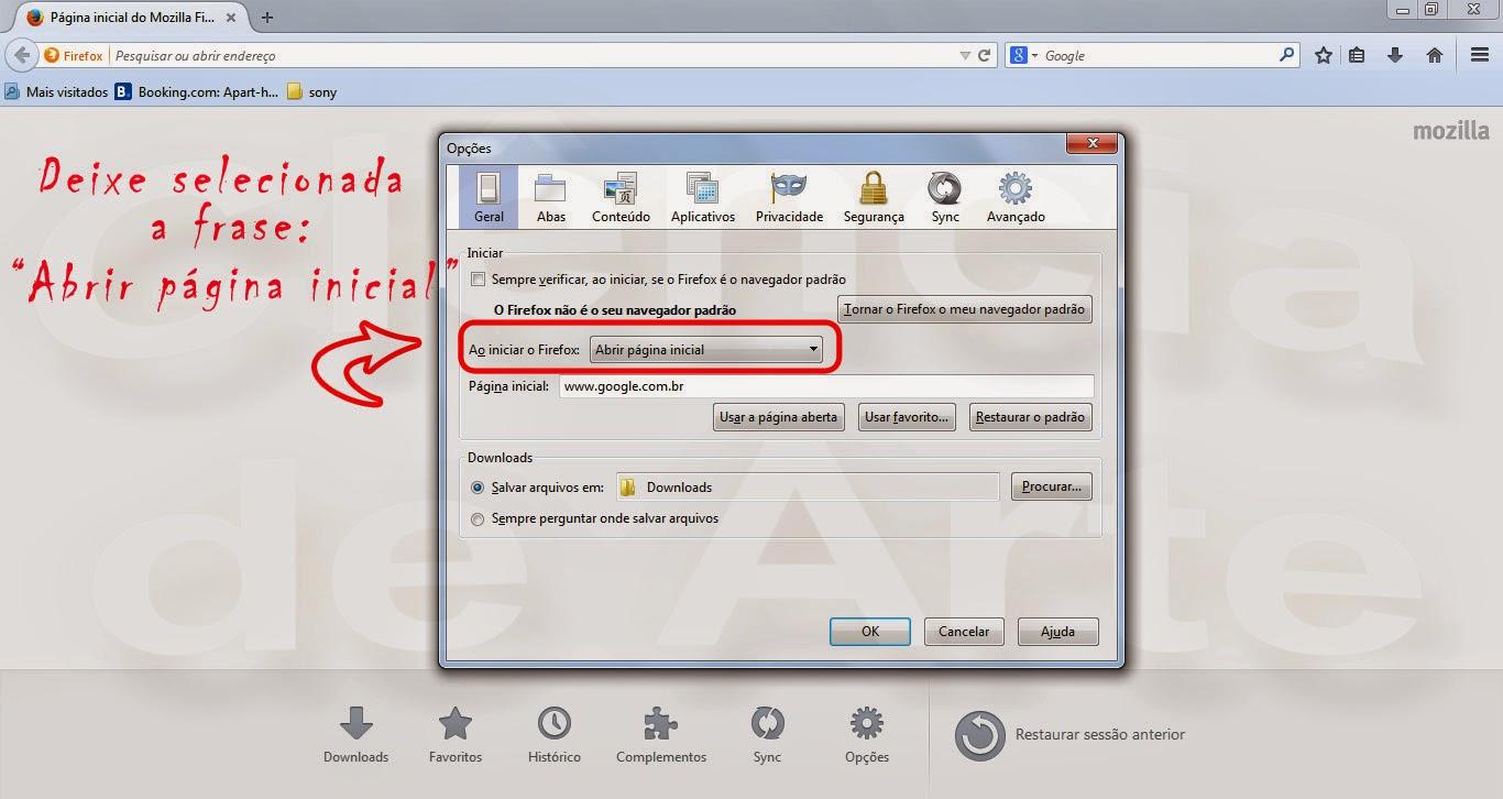 Como colocar o google como página inicial no Mozilla Firefox 3