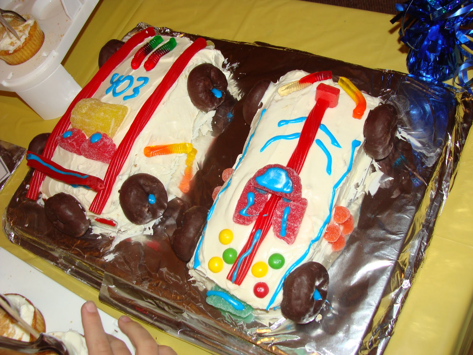 Robot cakes since we decorated for the Blue & Gold Dinner with robots