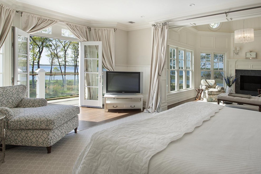 master bedroom with double french doors above