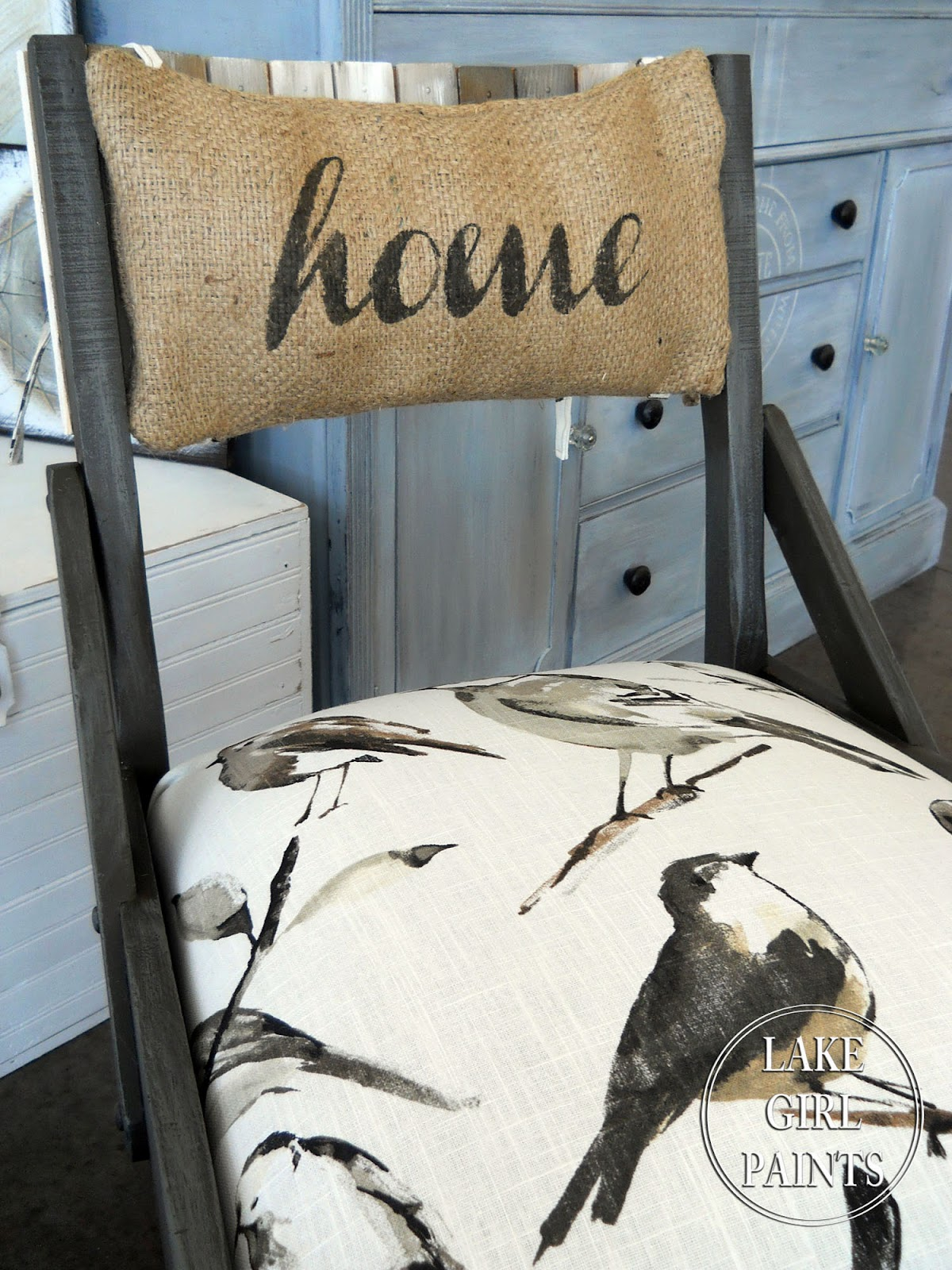 Lake Girl Paints Old Chairs Spring to Life with Birdwatcher Fabric